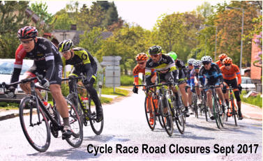 Cycle Race Road Closures Sept 2017